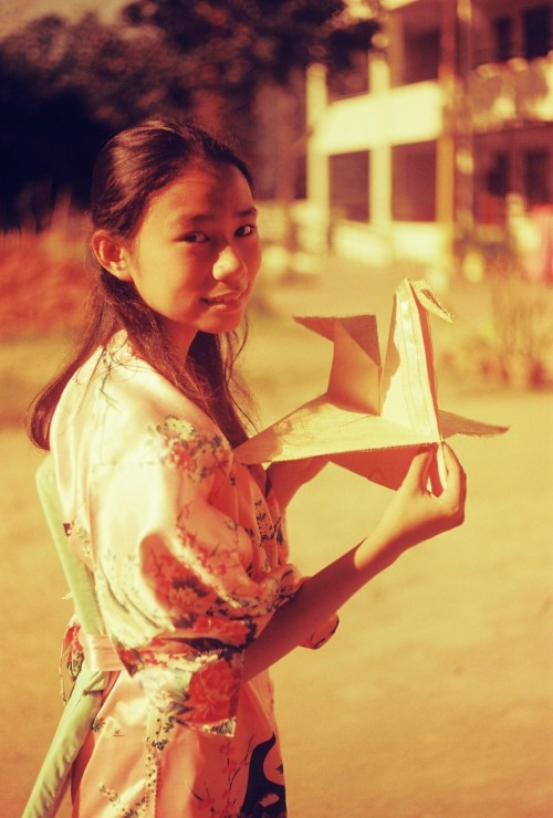 Sadako and one of the many paper cranes Yashica fx-3 Red scaled Kodak Ultima 100