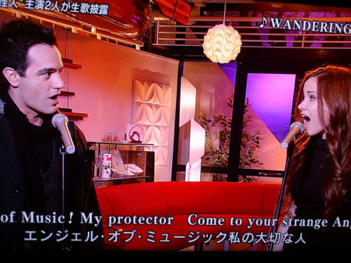 "Ramin and Sierra singing ""Wandering child"" on Japan TV."
