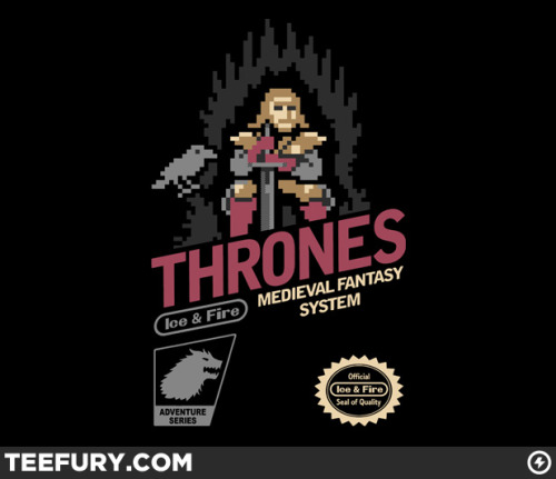 NES Inspired Game of Thrones from TeeFury! This tee design is probably one of the best seen on TeeFury in some time, classic design that is instantly recognizable. Great 8-bit design! Buy it here.