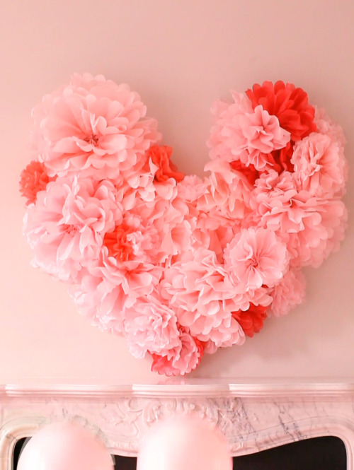 (via Everything Fabulous: Valentine's Inspiration: DIY Tissue Paper Wall Heart)