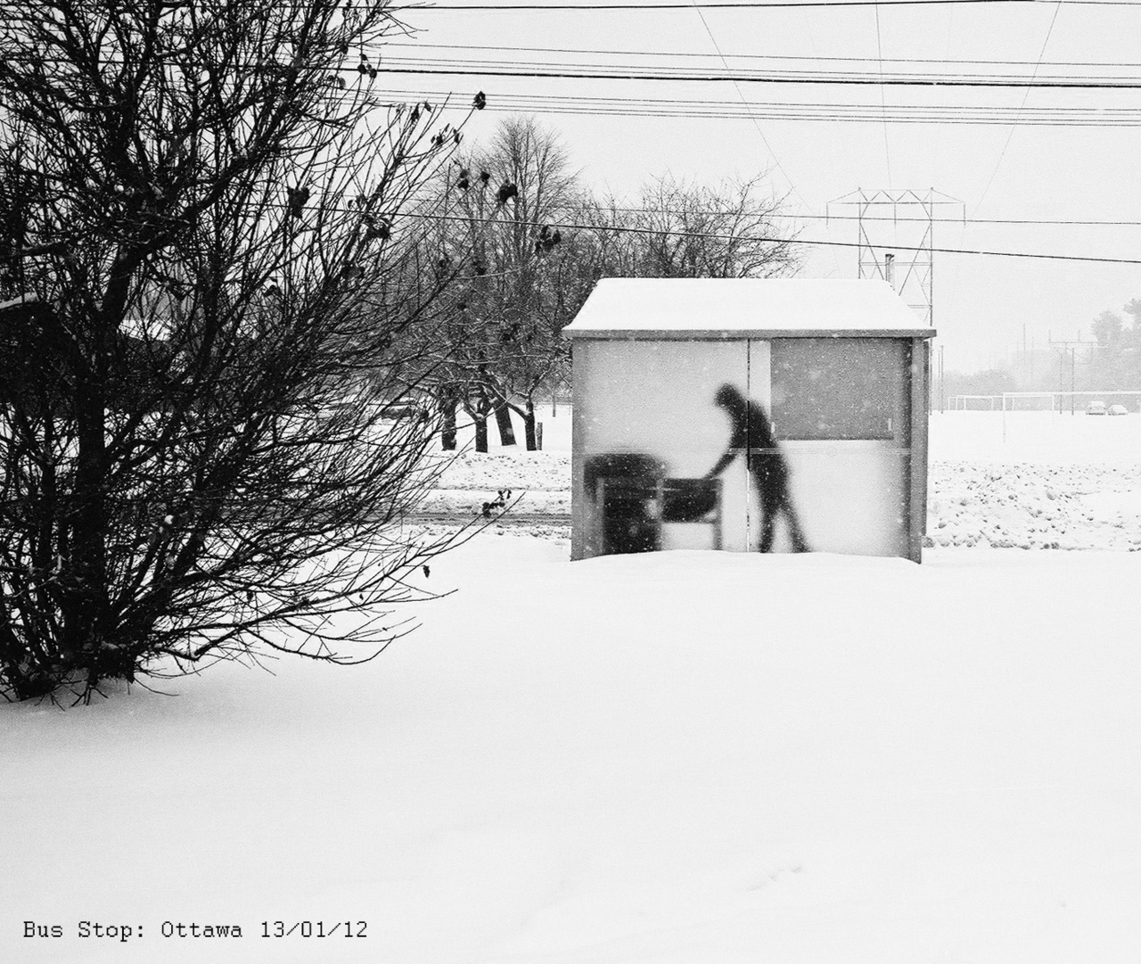 A lone figure reaches for their bag in a frozen bus shelter. Ottawa. Canon AE1 50mm lens at f16 (yes I took stupid 400 film) Ilford HP5.