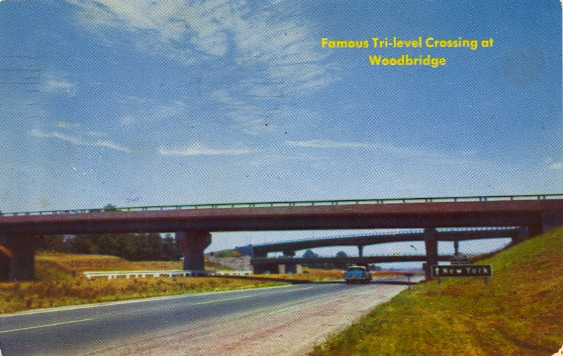 FAMOUS TRI-LEVEL CROSSING AT WOODBRIDGE  NEW JERSEY TURNPIKE. Tri-level viaducts, where the Garden State Parkway crosses and joins the New Jersey Turnpike with Woodbridge Avenue crossing at the same time.