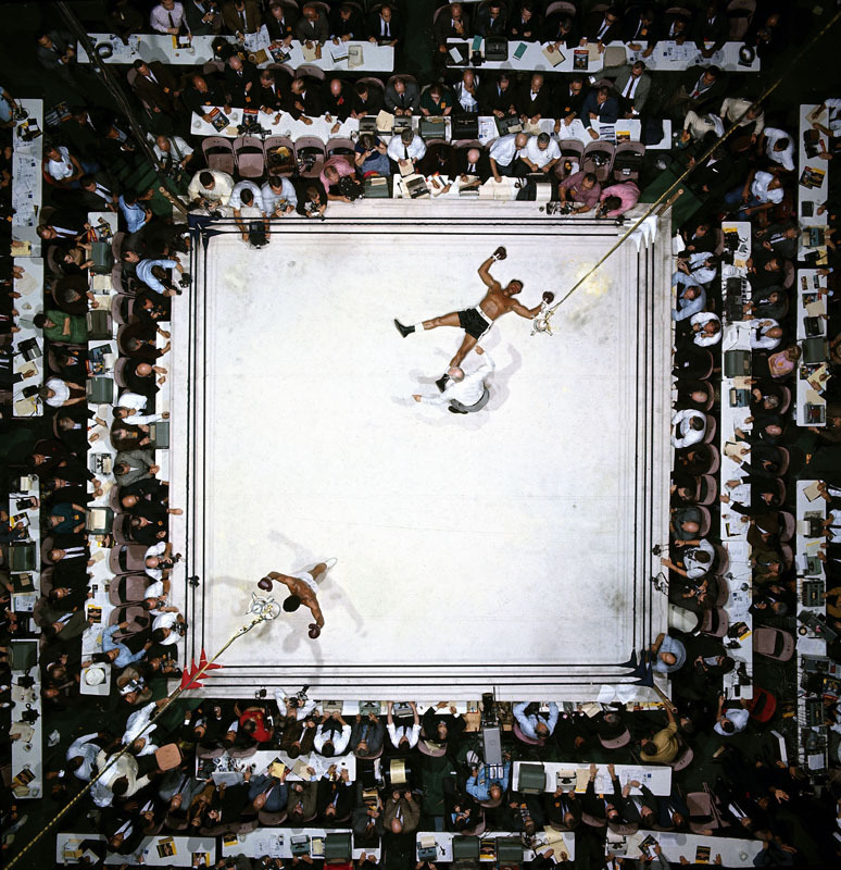 Muhammad Ali beating Cleveland Williams, by Neil Leifer, shot from 80 ft above the ring. Ali turns 70 today.