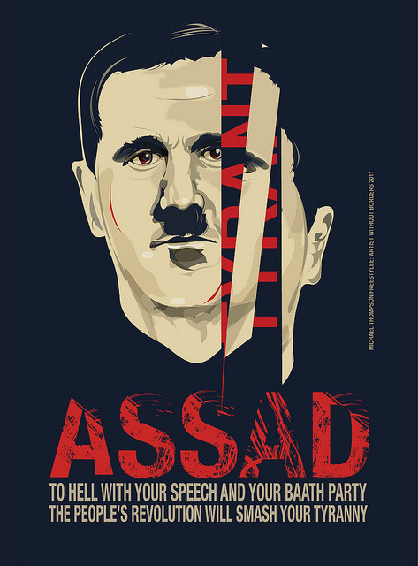 alhussainy:  The Face of a Tyrant by freestylee on Flickr. Down With Assad.