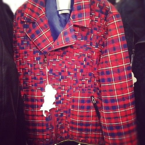 oncewheniwas:  #capsuleny #white raven woven plaid moto jacket  (Taken with instagram)