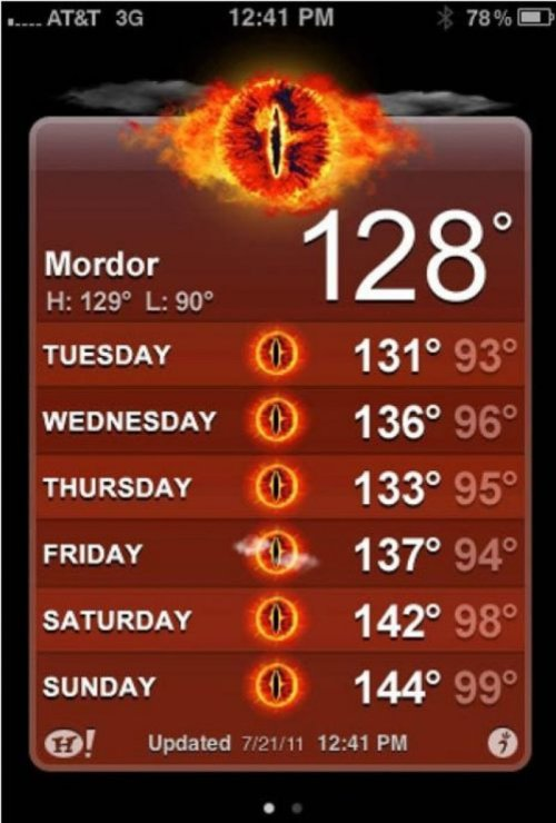 Mordor Weather Forecast  Another scorcher.