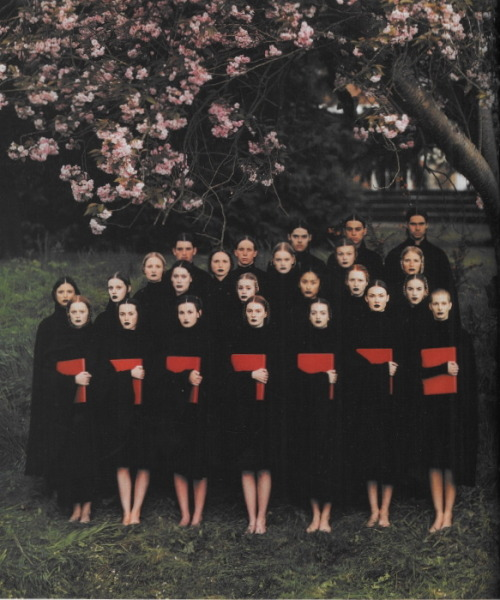 witchesandslippersandhoods:  The Choir, photographed by Phil Poynter for Dazed and Confused, 1999. All clothes by Raf Simons.