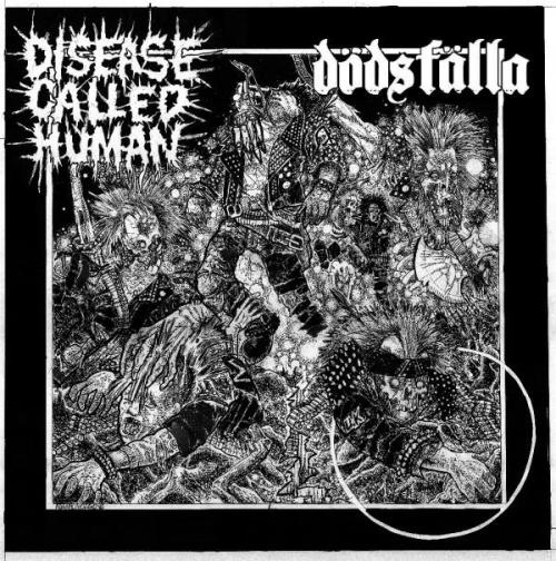 "-DISEASE CALLED HUMAN//DODSFALLA SPLIT 7""- pencil//ballpoint pen//sharpie//collage"