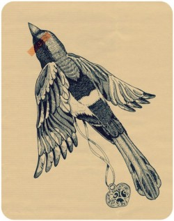 houseoffallingleaves:  magpie tattoo found at d. pakowacz`s flickr