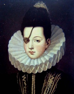 fuckyeahhistorycrushes:   Ana de Mendoza de la Cerda Was a spanish aristocrat during the XVI century. She was one of the  most talented women of her time, and even though she lost an eye during a  fencing practice, she was considered one of the most beautiful ladies  in the spanish court. Her haughty character and her love for luxury  became her best presentation etiquette.