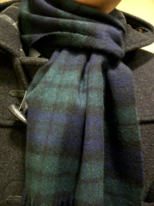Johnston's of Elgin Cashmere Black Watch Scarf. Gloverall Dark Gray Duffle Coat.