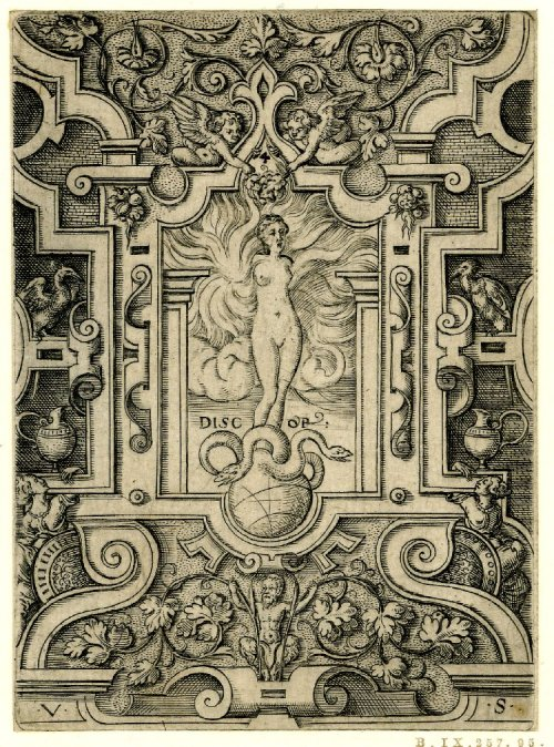 Twelve mythological women Plate 4: Eris/ Discordia Print made by Virgil Solis 1530-1562 The British Museum