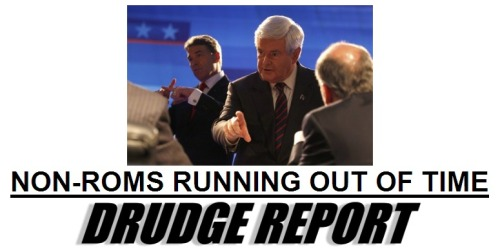 "inothernews:  Matt Drudge gives bad hed. Also considered: ""Rom-Coms Running Out Of Time"" ""Nom Nom Noms Running Out Of Time"" ""Con Air Running Out Of Time"" ""Viacom Running Out Of Time"" ""Can You Believe That A Massachusetts Moderate Is Going To Be Our Candidate?"""