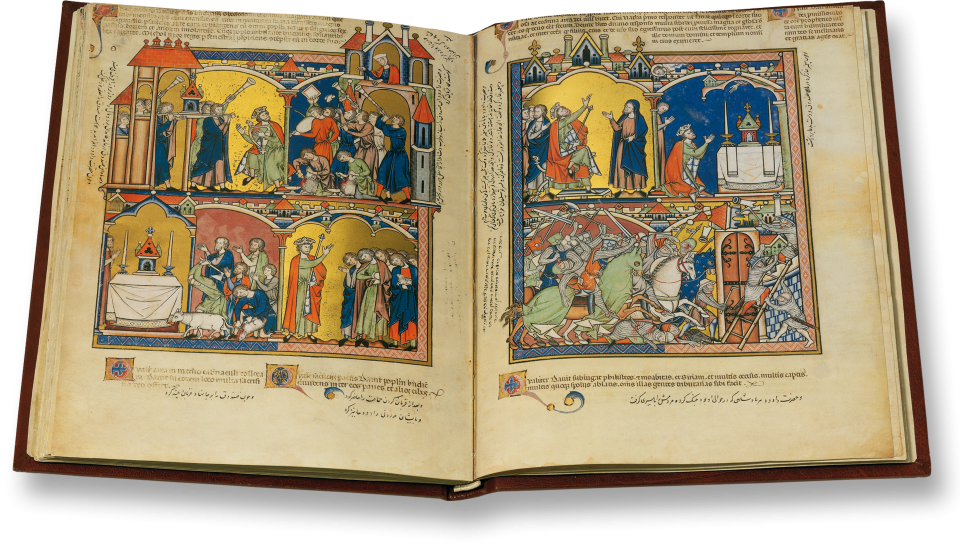 Crusaders Bible  13th  Century - Pierpont Morgan Library, New York, M 638; fragments of the  Bibliothèque nationale de France, Paris, Nouv.acq.lat.2294, and the J.  Paul Getty Museum, Los Angeles, 83.MA.55 (formerly Ludwig Collection) http://www.faksimile.de/werk/Kreuzritterbibel.php?we_objectID=59