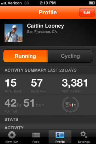 profile on Strava Run