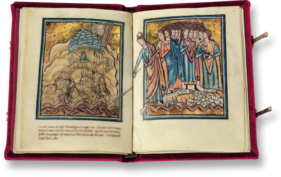Oxford Bible pictures  13th  Century - The Walters Art Museum, Baltimore, Ms. W.106; Marmottan Museum, Paris http://www.faksimile.de/werk/Oxforder_Bibelbilder.php?we_objectID=42  Fol 22r: One side of the double-sided scene pulling the Israelites through the Red Sea.  Moses is recognized by the horns.