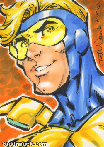 Booster Gold w/ Skeets. Copic marker sketch card.