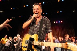 "rollingstone:  Bruce Springsteen played a surprise set at a benefit concert in Asbury Park, NJ over the weekend. Although his appearance was officially unplanned, he has been to nearly every one of the annual Light of Day concerts - which fund research on Parkinson's disease - since they began in 2000. David Bromberg, Garland Jeffreys and Southside Johnny also played sets at the benefit, but there is no denying that Springsteen stole the show. He left the crowd stunned after a solo acoustic performance of ""Incident On 57th Street,"" which he has only done one other time in his career. To read more about Springsteen's surprise set, visit RollingStone.com. - Ben Murray"