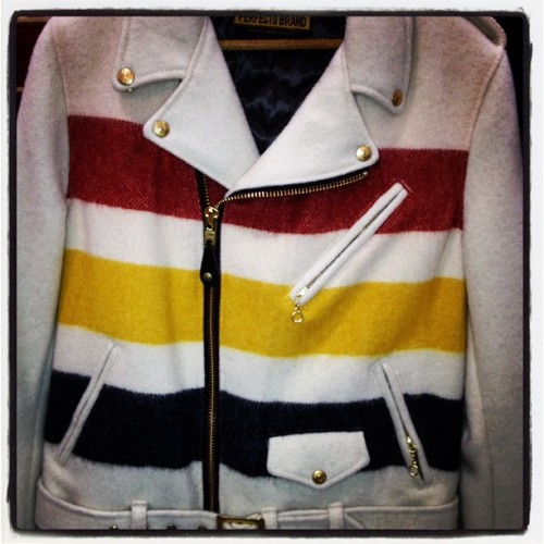 oncewheniwas:  Gotta love a new twist on a classic @schottnyc moto jacket #capsuleny  (Taken with instagram)