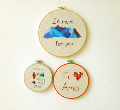 Romantic hand embroidered wall hangings by il gatto selvatico @ http://www.etsy.com/shop/ilgattoselvatico