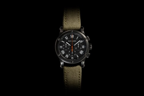 anchordivision:  Ralph Lauren Safari RL67 Sporting Chronograph Largely taking cues from the classic look of a sporting watch, Ralph Lauren has released this Safari RL67 Sporting Chronograph. A durable canvas wristband in olive green combined with a matte grey bezel gives this watch a very utilitarian appearance. An analog watchface with roman numerals covered by a tinted sapphire crystal case are also featured. 39mm and 49mm editions are available starting at $9,800 USD.