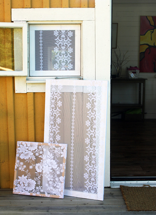 crafttastic:  screw boring old window screens! why not make screens out of old lace curtains?! old lace curtains are easy to come by (raid your mother's, grandmother's, antique shop, etc stash) and come in a variety of classy looking designs/textures. lace works great, because it has holes to let air in, but the holes are small enough that bugs stay out! btw, this project works best with wooden window frames! take out the window frame & remove the current (boring) screen. now, stretch the lace tight over the frame & use a staple gun to attach it! trim away the excess lace! done!