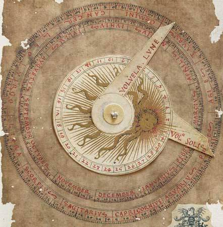 Flat astrolabe and moving indicator to determine planet influence   Liber Physiognomiae fine art facsimile edition   The Liber Physiognomiae is a miscellany of medieval astrological and  medical treatises, reviewed at the dawning of the humanistic age. The  author of the texts, the illuminator and the purchaser are still  unknown. The descriptions of the days and of the four seasons are  followed by the twelve signs of the zodiac, one per page, drawn together  with the text of the horoscopes outlining the character and the  positive and negative events in the lives of men and women in relation  to the period of birth. The water-coloured figures at the bottom of the  page represent the influence of planets on mankind. http://www.codicesillustres.com/catalogue/de_sphaera/