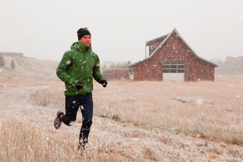reachyourpeak:  Motivate yourself for a winter run!  Warm up your clothes: Pop your sports bra, shirts, pants, and  even your socks in the dryer for a couple minutes. Slipping on warm  gear is sure to get rid of that chill you have when looking out your  window into the cold. Warm up yourself: Take a quick shower allowing the hot water  to envelope your skin, being careful not to get your hair wet. It'll  warm your body and get your muscles ready to move. Warm up inside: Once you're dressed properly for a cold-weather workout,  do your warm-up inside rather than outside. Run up and down the stairs,  do jumping jacks or a round of push-ups, or whatever you need to do to  get your heart rate up without getting sweaty. You'll feel warm and  loosened up when you step out the door, and you can start running right  away to stay warm. Here are warm-up ideas that can be done indoors (even in a small apartment space!). Blast a tune that speaks to you: Whether it's Beyoncé, Adele,  or Pitbull that lights a fire inside you, use your favorite upbeat song  to get you psyched for a run. You can dance and scream lyrics as you  slip on your sports bra and sneaks. This is a great technique when  you're really not feeling a run because it can instantly flip a switch  and help you head out the door fast. Continue the musical motivation by  listening to a newly crafted running mix. Go for a change of scenery: Running the same neighborhood  loop every week? No wonder you're not excited to run. Mix up your  running route every few workouts for some inspiration. Schedule a date with a fitness buddy: Having trouble  motivating yourself? Then use a friend to help. If you make a date to  meet outside for a run, you can't make excuses and back down. Check out  our tips for finding the right fitness buddy. Shop for new gear: Whether you go big and buy a new merino  wool shirt or just splurge on a new pair of warm running socks, the idea  of slipping on new gear is sure to inspire you to get outside. New gear  will not only give you the kick in the pants you need, but it'll also  make your runs more comfortable, which will help motivate tomorrow's  workout. Our picks of cold-weather reflective running gear are bound to inspire you!