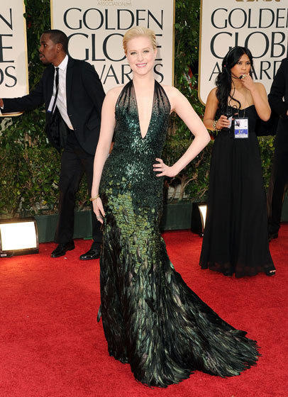 My favorite look from the Golden Globes: Evan Rachel Wood in Gucci. I love the green and all the texture!