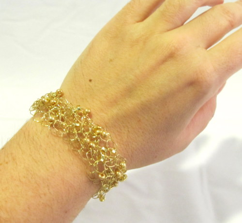 NEW Gold on Gold Wire Crochet Bracelet available at http://www.etsy.com/listing/90784504/gold-on-gold-wire-crochet-bracelet-cuff  Makes a great piece to wear to the office or to dress up an outfit for a night on the town!