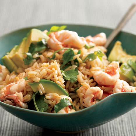 Brown rice with shrimp and avocado. Ginger, cilantro, and rice wine come along for the ride. Calories: 400. See more simple asian recipes!