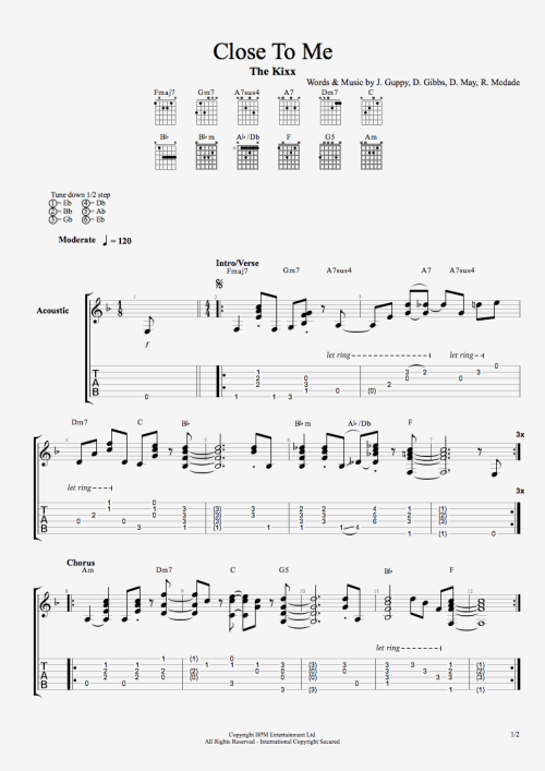 Upon request, tablature for Close To Me