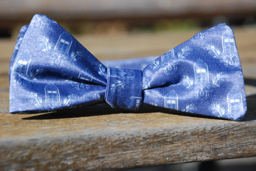 Finally got a less terrible photo of my Police Box Bow Tie. I should probably sew some more of these soon.
