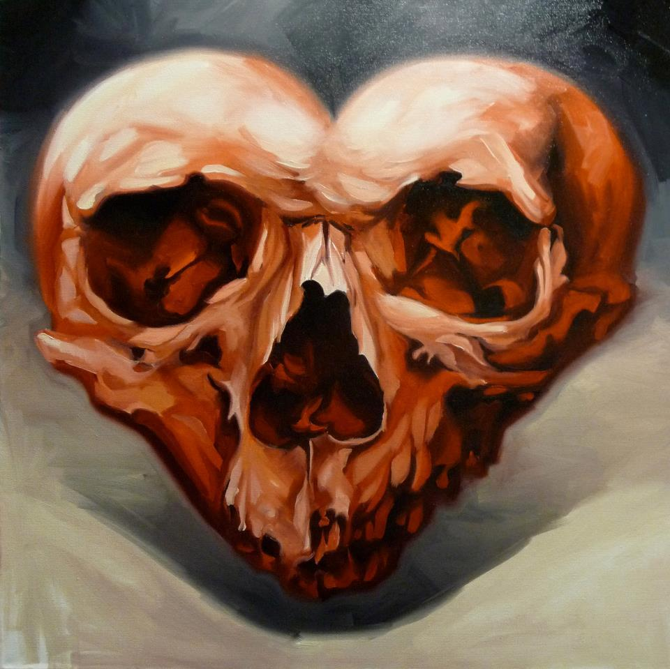 Skull-Heart Painting By Damon Conklin At Super Genius Tattoo Seattle.