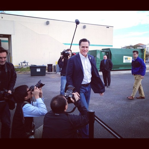 Mitt Romney in Florence SC. That's the amazing Charlie Dharapak from AP on the left and his equally amazing colleague/competitor Jim Young from Reuters on the right. Two of the best political photogs in the business. (Taken with instagram)
