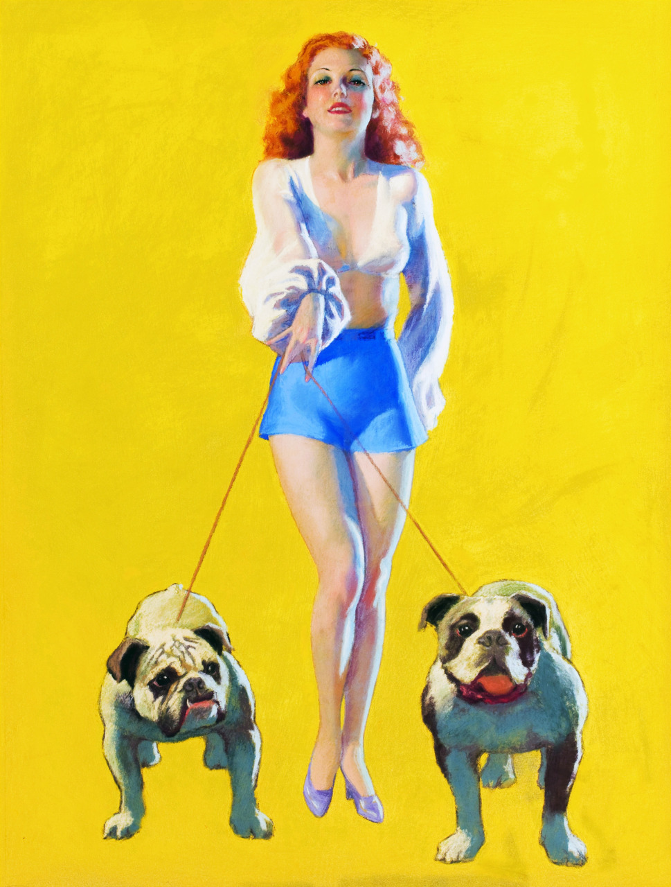 "vintagegal:  ""Pin-up with Bulldogs"" by Earl Moran (1937)"