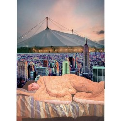 Polexia asleep under the tent that covers the city by polexiaaphrodisia on polyvore.com featuring a painting by Devrim Erbil (1937- )