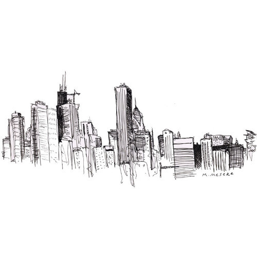 Chicago Skyline Drawings Chicago Skyline Draw Clipped
