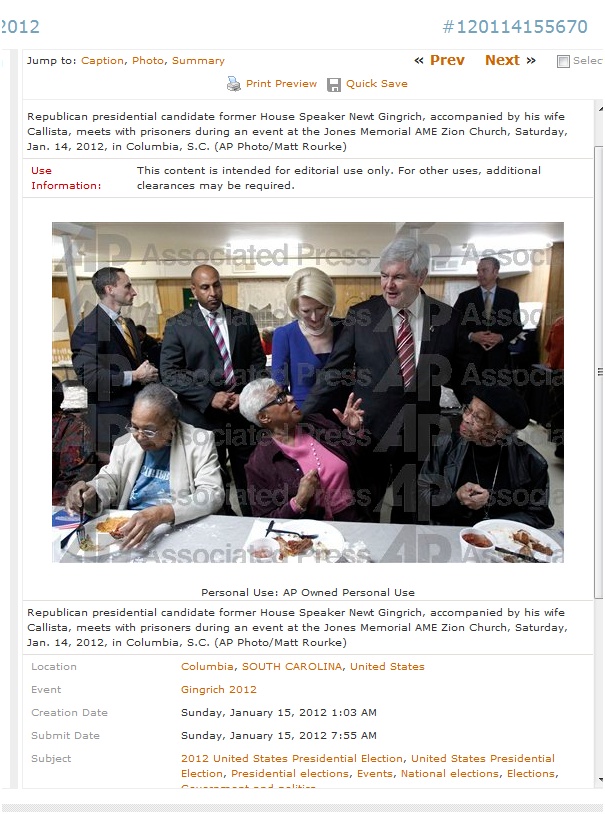 Bag's Take-Away:  Newt taking no parishioners.   The issue of race seeps into this photo caption as African-American church equated to a prison. This is original AP photo and caption. Reported by Gawker.  ————— Topping LIFE.com's 2011 list of Best Photo Blogs, follow us at: BagNewsNotes; BAG Twitter; BAG Facebook; Bag by Email.