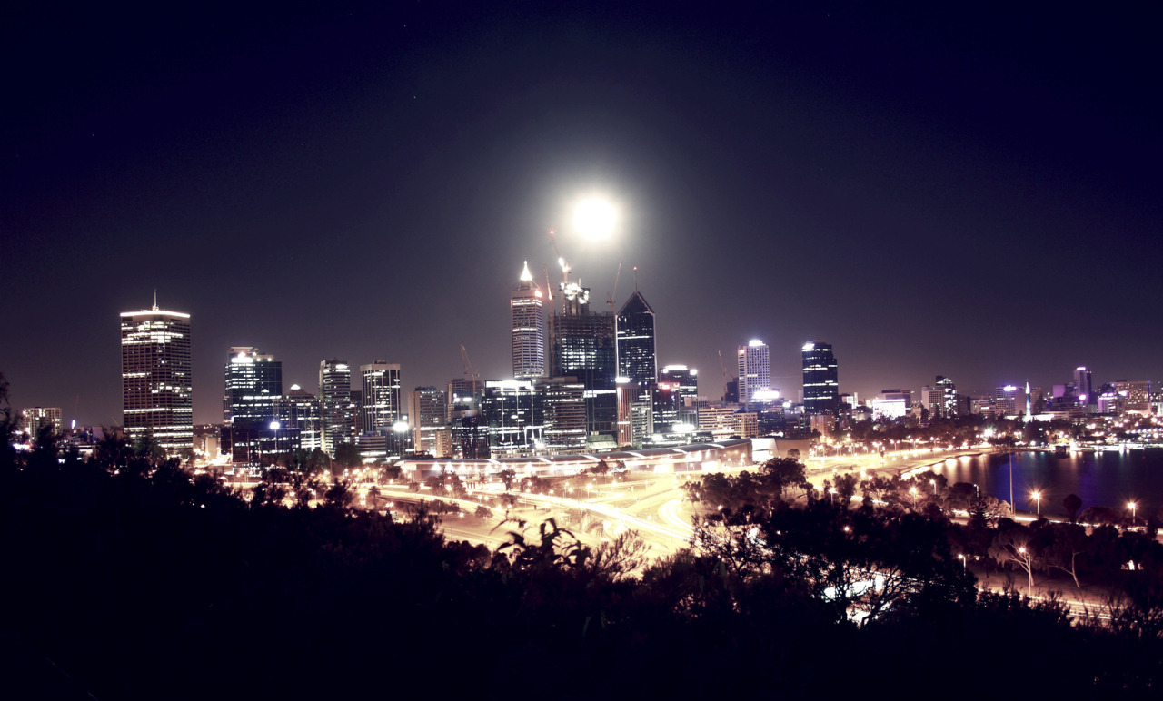 Full moon over Perth city skyline. I waited a month to do this shot. It was worth it.