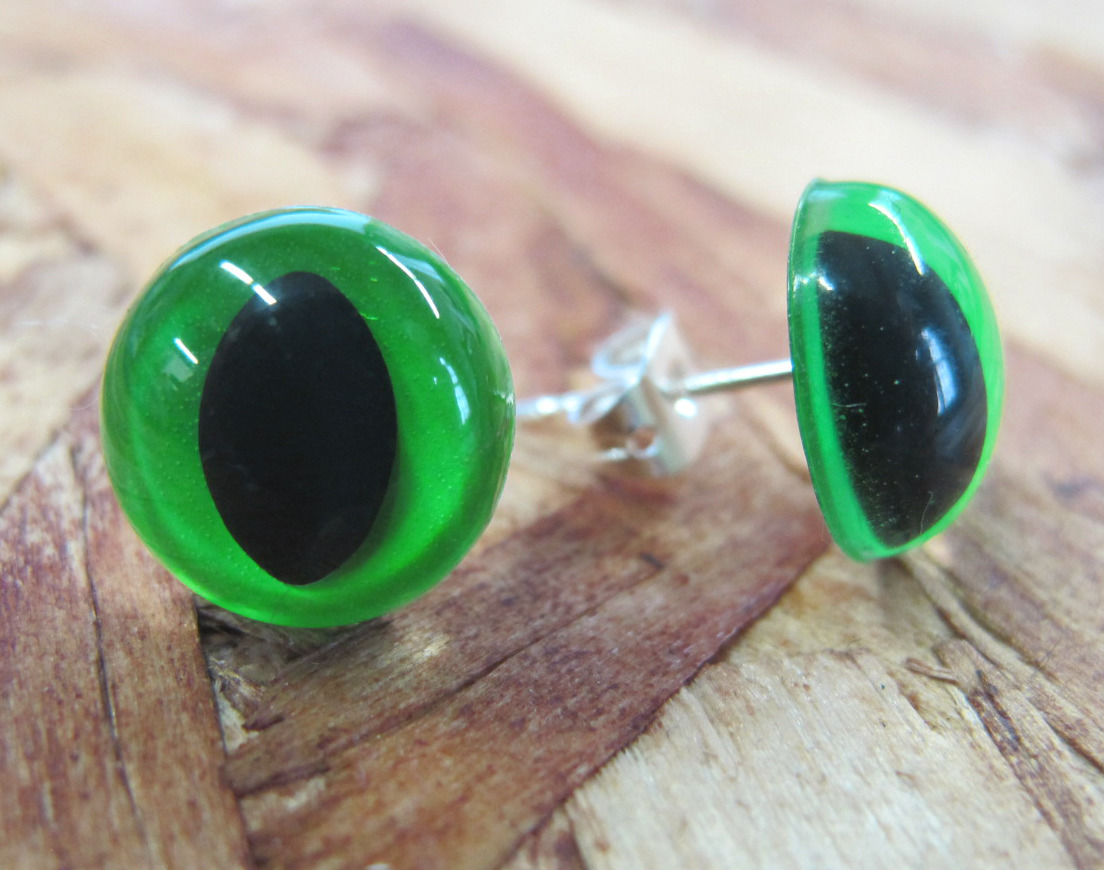 neon green earring studs to match your Pretty Snake kitty sweater :) http://www.etsy.com/shop/PrettySnake