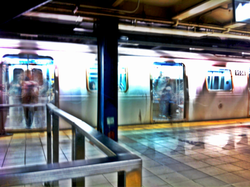 Subway Series 7 - Ghosts - NY, NY iPhone 4, Slow Shutter, Camera+ Millions of people travel the New York subway everyday. Rarely leaving more than a fleeting imprint of their presence. Using a slow shutter with a digital camera captured this image of ghostly impressions of people moving on and off the train.