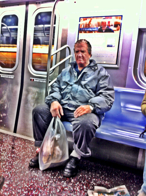 Subway Series 8 - Stoic - NY, NY iPhone 4, Slow Shutter, Camera+ This man intrigued me. He was oblivious to the fact I was taking his photo. Like many people on the subway he was in his own world, closing out the strangers around him. I used slow shutter set on 1/16 of a second. The constant movement of the train causes the image to look like a painting rather than a photograph.