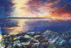 Irish painting of Inishmaan sunset by Barry Looney.