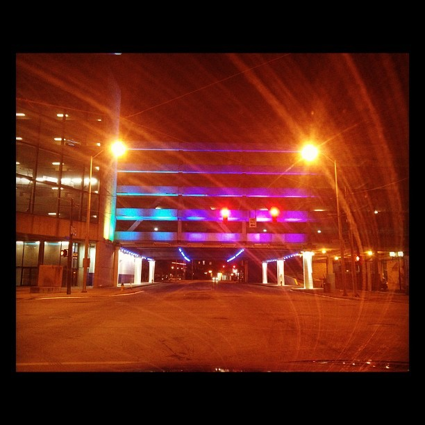 """All of the Lights"" - #dayton #downtown #iPhone #iPhotography #lights #colors #hefe #filter (Taken with instagram)"