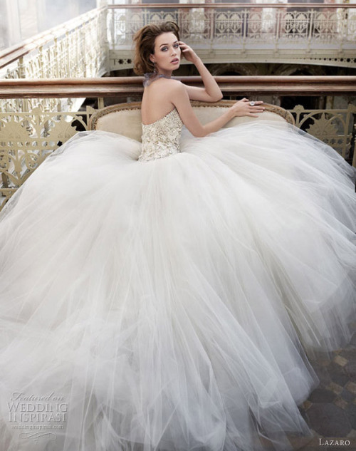 weddinginspirasi:   Lazaro Wedding Dresses Spring 2012 Tulle ball gown wedding dress with beaded and embroidered bodice featuring silk chiffon flower accents, dropped waist, circular tulle skirt. From Lazaro Wedding Dresses Spring 2012   so lavish and beautiful!