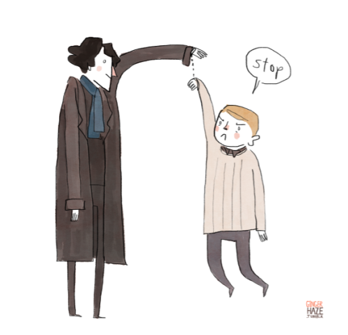 gingerhaze:  Silly happy Sherlock art to get us through the sad times.