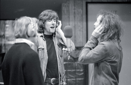 Stephen Stills, Graham Nash, and David Crosby recording.