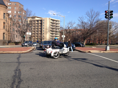 Motorcades are simultaneously horrifying and comedic.  Pennsylvania Ave NW at K.