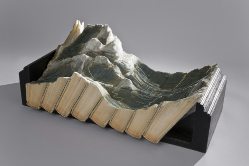 Guy Laramee   tectonic   carved book landscape
